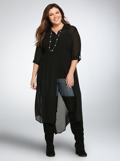 """<p>This sweeping, does-it-ever-end maxi tunic is a must have layering piece. While the black chiffon and split front guarantee flow, the button front, 3/4 sleeves and collar lend just the right amount of polish to the gone with the wind style.</p>  <p></p>  <p><b>Model is 5'9"""", size 1</b></p>  <ul> <li>Size 1 measures 47 1/2"""" from shoulder</li> <li>Polyester</li> <li>Wash cold, dry low</li> <li>Imported plus size tunic</li> </ul>"""