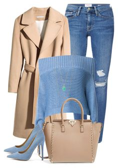 """""""Blue & beige"""" by stylist-marbella on Polyvore featuring Frame Denim, H&M, TIBI, Valentino and JustFab"""