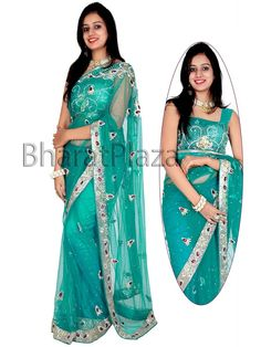 Delicate rama green color net saree is enriched with stones, cutdana, sliver zari work. Item Code : SJY4456 http://www.bharatplaza.com/new-arrivals/sarees.html