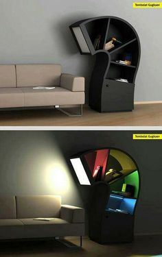 Book case with inbuilt reading lamp