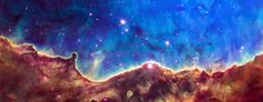 Space Image: Nebula Panorama  Art print for sale. Blue, orange, red and brown colors. Space image, panorama format. Located in the Southern Hemisphere, NGC 3324 is at the northwest corner of the Carina Nebula. High quality digital painting with carefully enhanced colors, more vibrant and vivid than in the original Hubble photo. Looks amazing as large print, poster or canvas, bring the fascination of the universe in your home or office! Credit: NASA, ESA, and The Hubble Heritage Team