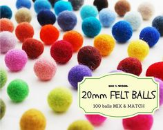 100 Wool Felt Beads, Mix and Match 20 mm/2 cm Wool Felt Balls, Multicolored Felted Balls in Bulk, Felted Beads, 100% Wool Felt Pom Poms #wool #woolfelt #felt #feltballs #feltbeads #woolballsbulk #bulk #feltbeadsbulk #feltallsbulk #colorful #pompoms #DIY #Etsy