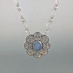 Blue Boulder Opal Mehndi Necklace Mehndi, Opal, Handmade Jewelry, Pendant Necklace, Diamond, Silver, Blue, Handmade Jewellery, Opals