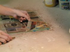 """Making a layered """"painting"""" with slips (begitninger) and transfering it to leather hard clay."""