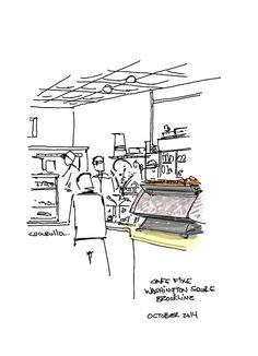 Cafe Fixe, Washington Square, Brookline Massachusetts,  (cafe sketch by Michael Cucurullo)
