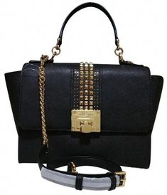 3c20abe347b7 Save on the Michael Kors Tina Medium Studded Black Leather Satchel! This  satchel is a top 10 member favorite on Tradesy.
