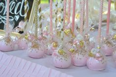 Gorgeous cake pops at a pink and gold birthday party! See more party planning ideas at CatchMyParty.com!