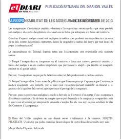 La responsabilidad de las aseguradoras médicas.  Completo en: http://www.grupomedicolegalbcn.com/es/seccion/articulos/