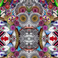 a digitally mirrored design from one of my early colored ink drawings. Ink Drawings, Psychedelic, Mandala, Digital Art, Artwork, Color, Design, Art Work, Colour