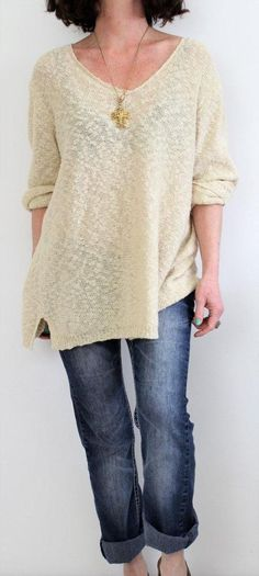 Carolyn Taylor Cotton 3/4 Sleeve Scoop Neck Pattern Knit Sweater Ivory Sz 3X #CarolynTaylor #ScoopNeck