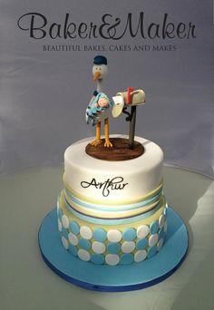 Stork & Postbox Baby Boy Christening Cake