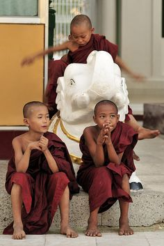 Little Monks in Shwedagon Temple, Myanmar. Having been to this exact place, my heart aches for them. Jesus shine into them! Buddha Buddhism, Buddhist Monk, We Are The World, People Of The World, Beautiful Babies, Beautiful World, Burma Myanmar, Reiki, Laos