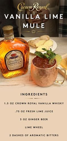 This simple, seasonal mule recipe is perfect for any fall weekend. Combine oz Crown Royal Vanilla Flavored Whisky and oz lime juice in a shaker with ice. Shake well and strain into a copper mug over fresh ice. Top with 3 oz ginger beer and garnish Bar Drinks, Cocktail Drinks, Cocktail Recipes, Alcoholic Drinks, Beverages, Fall Drinks Alcohol, Beer Mixed Drinks, Bourbon Drinks, Whiskey Cocktails