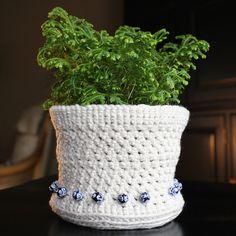 handmade crochet plant holder with bead details