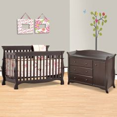 So this would be our dark wood furniture against gray walls if we go gray.it's not too bad! Our floor is this light wood too. Girls Furniture, Dark Wood Furniture, Nursery Furniture, Convertible Crib, Girl Nursery, Nursery Ideas, Room Ideas, Going Gray, Nursery Wall Decals
