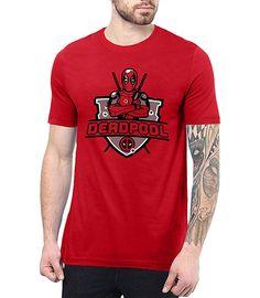 4484387b0c4e Mens Red Deadpool T Shirt Graphic Tees   Deadpool Shield, S Deadpool T Shirt ,