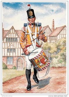 British; 77th (East Middlesex) Regiment of Foot,Drummer, c.1809. Note In February 1810 they were granted permission to bear the plumes and motto of the Prince of Wales as a badge, in commemoration of twenty years service in India. As these are not visible on uniform or drum I'm guessing this is pre 1810.