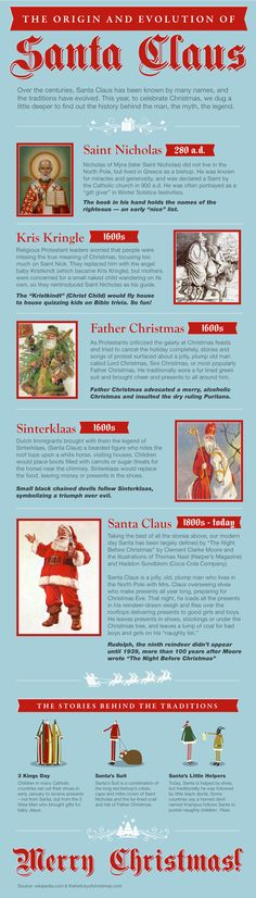 The origin and evolution of Santa Claus [Infographic] What Santa is based on St Nicholas? Catholic children receive gifts from the magi, not wise men. There is a difference. Christmas Time Is Here, Noel Christmas, Father Christmas, Winter Christmas, Winter Holidays, All Things Christmas, Vintage Christmas, Christmas History, Christmas Quotes