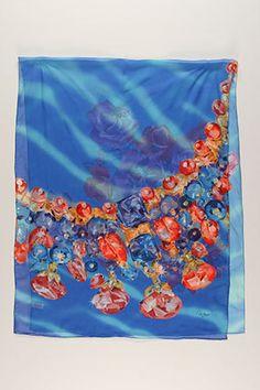 Cartier  Flower Motif Scarf In Blue