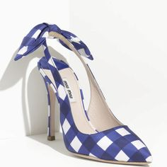Blue gingham print shoe