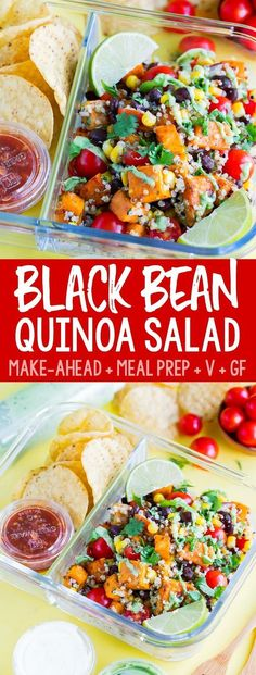 This healthy vegetarian Black Bean Quinoa Salad is fast, flavorful, and easily made in advance for speedy lunches and sides for work, school, or home! Quinoa Salad Recipes, Vegetarian Recipes, Vegetarian Salad, Healthy Recipes, Vegetarian Lunch Ideas For Work, Healthy Foods, Healthy Eating, Black Bean Quinoa, Quinoa Salat