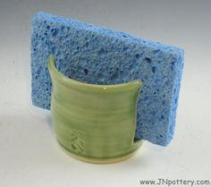 Ceramic Sponge Holder Slotted Napkin Caddy Celadon by JNpottery, $14.00