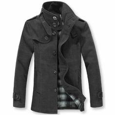2012 new arrival men's clothing autumn woolen overcoat men pea coats warm overcoat men winter(China (Mainland))