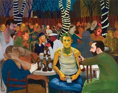 Nicole Eisenman Beer Garden with Ash 2009 Oil on canvas 65 x 82 inches Institute Of Contemporary Art, Contemporary Paintings, The Drawing Center, Carnegie Museum Of Art, New Museum, Artwork Images, Beer Garden, Figure Painting, Figurative Art