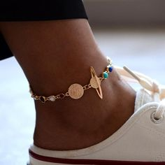 $9.88 | ZG Planet Anklets for Women Gold Color Stone Beads Planet Foot Bracelets Summer Beach Barefoot Jewelry on leg Ankle Chain Outfit Accessories FromTouchy Style | Free International Shipping. Foot Bracelet, Ankle Bracelets, Bracelet Set, Jewelry Bracelets, Ankle Jewelry, Jewellery, Charm Jewelry, Necklaces, Ankle Chain
