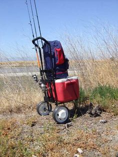thefirstsergeant…. Specialize Fishing Cart, beach cart. Anti-rust steel tubes frame 8.9 lb, quick release fold-able handle, built-in 4 fishing rod holders. Removable wheel reduce storage volume, it can be easily put inside the car trunk. Special wide wh