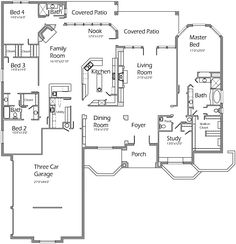 Very Nice - Again similar to the other Korel houseplans - Love the open family room and kitchen and then another large living room - missing the play room that you get with the other plans on this one. Not sure if I like the placement of bedroom Dream House Plans, House Floor Plans, My Dream Home, Bedroom Layouts, House Layouts, Building Plans, Building A House, The Plan, How To Plan