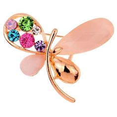 Amybria Glaring Gold Plated Colorful Crystal Butterfly Brooch Pin Women Gift * Be sure to check out this awesome product.