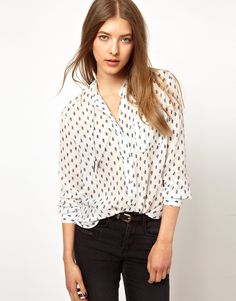 MiH Jeans Collarless Patterned Blouse