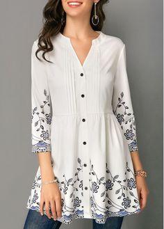 Split Neck Button Front Printed White Tunic Blouse | modlily.com - USD $27.92