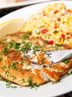 The Simplest Great Lakes Whitefish There's nothing like a simply prepared Lake Superior Whitefish with some gorgeous Michigan corn and tomatoes during the Shellfish Recipes, Seafood Recipes, Chicken Recipes, Dinner Recipes, Cooking Recipes, Dinner Ideas, Walleye Recipes, Lunch Catering, Diet
