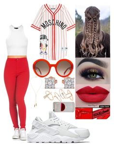 """""""jersey"""" by msroro12 ❤ liked on Polyvore featuring Topshop, NIKE, Moschino, BHCosmetics, NYX, Alexander McQueen, Bølo and Wet Seal"""
