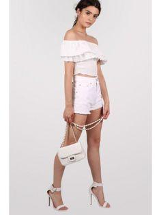 Frayed Edge Denim Shorts in White