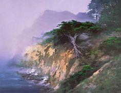 Китайский художник H. Leung. Красивый пейзаж маслом четвертый