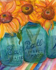Sunflowers and mason jars #teampinterest