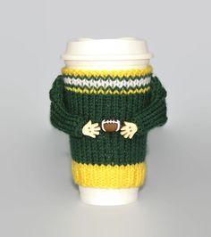 Green Bay football coffee sleeve. Coffee cozy. Football jersey. Coffee cozy. Mug sweater. Travel mug cozy. Football gear. Gift for him by MugHugCozy on Etsy