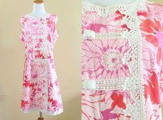 "1960's LILLY PULITZER Shift ""Lilly"" Dress Pink and White Tropical Medium Large   #LillyPulitzer"
