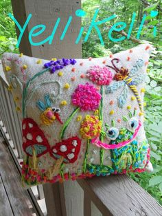 Froggy Garden Original Freehand Embroidered Pillow by YelliKelli, $85.00