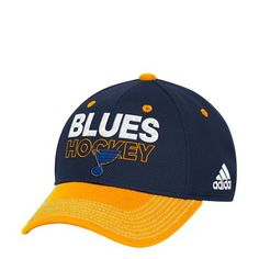 163ade9ce3c Adidas Men s St. Louis Blues Locker Room Structured Flex Fit Cap  (Blue Gold