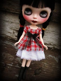 Blythe Red Plaid Short Dress by cindysowers on Etsy, $27.00
