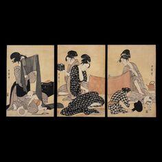 Kitagawa Utamaro, Women sewing, a triptych of colour woodblock prints British Museum - Highlight image