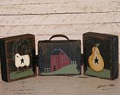 Primitive Home Decor-Three Handpainted Wooden Blocks with Hinges and Handle-Table Sitter Blocks