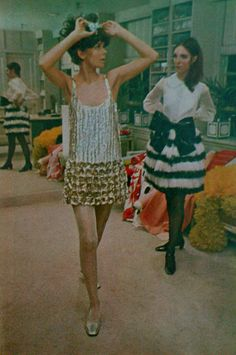 Flapper-like shift derived from the '20s with sequins $1,100 and ostrich-feather skirt with a patent-leather bow $425 both by Geoffrey Beene. ,1967