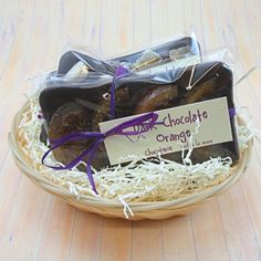 Father's Day Chocolate Gift Basket. Dark Belgian chocolate bars with candied orange, crystallised ginger and brazil nuts.