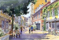 Germany Baden-baden Lange Strasse by Yuriy Shevchuk ~ watercolor Landscape Paintings, Watercolor Paintings, Pastel Paintings, Watercolours, Landscapes, Watercolor Architecture, Cityscape Art, Art Pages, Watercolor Illustration