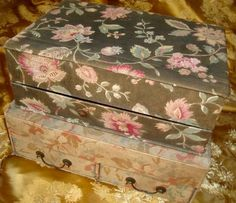 Morgaine Le Fay antique Textiles and More: Pretty little vintage fabric-covered boxes, shabby but very decorative